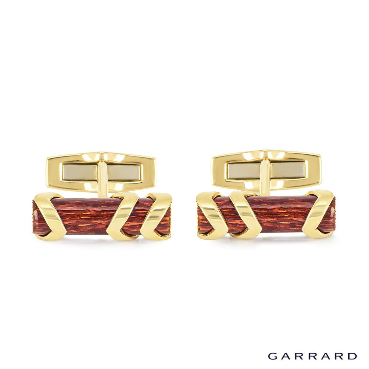 Garrard 18k Yellow Gold Enamel Log Cufflinks